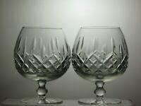 "CUT GLASS LEAD CRYSTAL BRANDY GLASSES SET OF 2- 5"" TALL 12 OZ"
