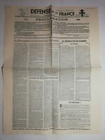 N1191 La Une Du Journal Defense de la France 14 juillet 1941 mouvement nationale