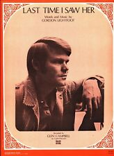 Glen Campbell Last Time I Saw Her Sheet Music Piano/Vocal/Guitar/Chords 1971 New