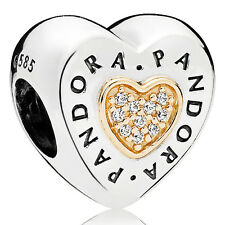 PANDORA Charm Element 796233 CZ Logo Herz Silber Gold Bead