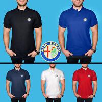 Uomo Alfa Romeo Maglietta Polo COTONE RICAMATO Auto Logo Camicia T Shirt Maglia