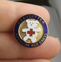 Vintage AMERICAN RED CROSS Babysitter pin button pinback *EE91