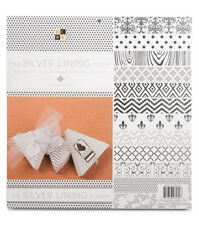 DCWV The SILVER LINING STACK 48 Sheets of 12 x 12 Printed Cardstock Scrapbook