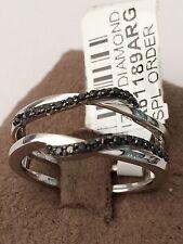 10K White Gold Wave Solitaire Enhancer Black Onyx Diamonds Ring Guard Wrap