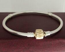 "Authentic Pandora 590702HG-17 6.7"" Gold Barrel Clasp Sterling Silver Bracelet"