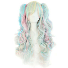 70cm Long Curly Colorful Clip-In Ponytails Wig Lolita Style Cosplay Wigs