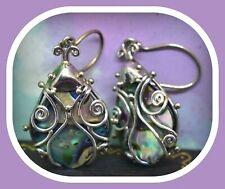 ❤️Offerings Sajen Sterling Silver Scroll Ladybug Abalone Paua Shell Earrings❤️