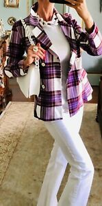 NWT Purple White Plaid Blazer Size S With Bag And Necklace