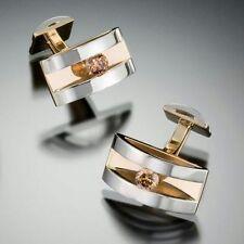 14k White & Yellow Gold Cuff Link Men's Jewelry Brown Round Cut Cz Handmade Gift