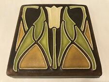 Motawi Tile Works Floral Motif Arts & Crafts Style, Art Pottery Tile, 4x4x.50