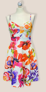 LIPSY Dress Mini Multi Floral Skater Scuba Sleeveless V Neck Party BNWT UK 10