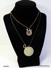 BETSEY JOHNSON LAYERED NECKLACE WITH 7 CHARMS 2 TONE NEW  $42