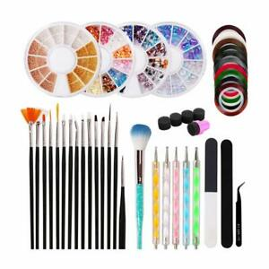 39 Pcs Nail Art Tools Professional Nail Stamping Kit Rhinestones for Starters