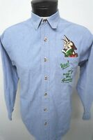 Warner Bros. Looney Tunes Wile E. Coyote blue denim shirt sz S mens L/S#390