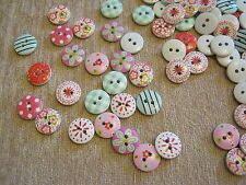 Wooden Decorated Buttons - min 40 per packet,  Assorted Mix **NEW**  [I]