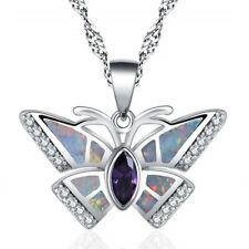 Silver purple Imitation Opal Amethyst-Tone Crystal Butterfly Pendant Necklace
