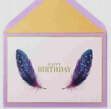 Papyrus Feathers Jeweled Birthday Greeting Card NIP