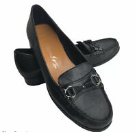 Etienne Aigner 7.5 Black Leather Loafer Low Heel Horsebit Elsie Moc Toe