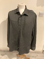 VINTAGE 90's DONNA KARAN GREY & WHITE STRIPE SHINY BAGGY SHIRT LARGE