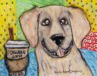 GOLDEN RETRIEVER Double Shot Espresso 13 x 19 Dog Pop Art Print Signed KSams