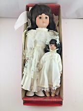 """1992 Brinn's Collectible 14"""" Porcelain Doll Biege with Coa & 8.5"""" Doll"""