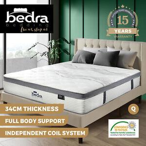 Bedra Queen Mattress Bed Euro Top Pocket Spring Ultra HD Foam 34cm 7 zone
