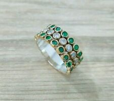 TURKISH HANDMADE JEWELRY 925 STERLING SILVER EMERALD BAND LADY RING
