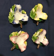 Vintage Tealight Candle Holders Hand Painted Flowers Set of 4 Different Colors