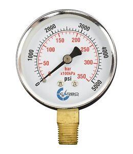 "2-1/2"" Pressure Gauge - Chrome Plated Steel Case, 1/4""NPT, Lower  Mnt. 5000 PSI"