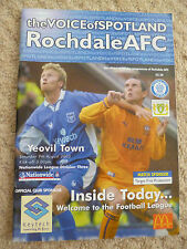 ROCHDALE v YEOVIL TOWN League Division Three Programme, 9th August 2003,