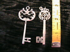 "2 VICTORIAN STEAMPUNK KEYS~Tibetan silver 2-1/2"" and 2-3/4"" CHARMS~PENDANTS+"