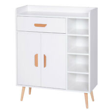 Modern Sideboard White Wooden Storage Unit w/ Worktop Cupboard Shelves Drawers