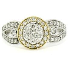 NEW 14k White & Yellow Gold Milgrain 0.75ctw Pave Set Round Diamond Cluster Ring