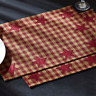 """Set of (6) Burgundy Star Appliqued Primitive Country Placemats 12""""x 18"""""""