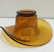 Vintage Amber Colored Glass Cowboy Hat Collectible Very Nice Hard To Find