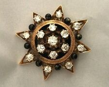 Exquisite Victorian Starbust Black Enamel Brooch with Old Mine Cut Diamonds