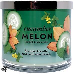 Bath & Body Works Cucumber Melon 3 Wick Candle 14.5 oz. Silver LId
