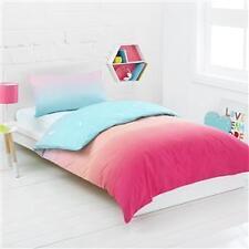 Single Bed Kids / Girls Sky Blue / Hot Pink Rainbow Quilt / Doona Cover Set