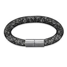 TJS Stardust Black Mesh Tube Bracelet Magnetic Clasp Clear Crystal Sparkle