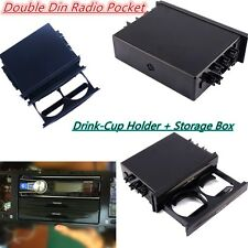 Double Din Radio Pocket Drink-Cup Holder Storage Box For Car Vehicle Universal#