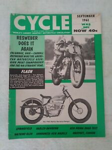 VINTAGE CYCLE MAGAZINE MOTORCYCLE SEPTEMBER 1961 HARLEY RESWEBER DOES IT AGAIN