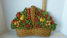 Vintage Homco Wall Decor Fruit Basket Resin Wall Art 1978 Collectible
