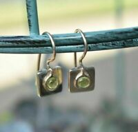 SILPADA Sterling Silver 925 Green Peridot Square Earrings W0659 RARE HTF