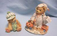 CHERISHED TEDDIES FIGURINES 1994 STACIE, KEVIN Enesno Holiday Bear Figurines