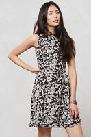 Anthropologie Black Floral Cocktail Party Fit & Flare Dress By Dolce Vita, Sz M