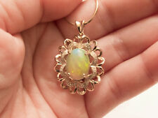 Simply Lovely Larger Look 14K YG Opal and Diamond Pendant