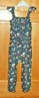 Next Navy Blue Strappy Long Floral Girls Body Playsuit Size 4-5 Years