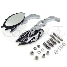 CHROME CNC FLAME MOTORCYCLE CRUISER CHOPPER CUSTOM REARVIEW SIDE MIRROR 8MM 10MM