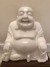 White Jade Crystal Mineral Gemstone Hand Carved Extra Large Buddha Statue