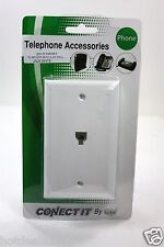 2 PACK LOT WHITE FLUSH MOUNT MODULAR WALL JACK TELEPHONE ACCESSORIES USA MADE
